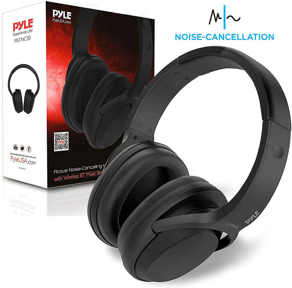 Bluetooth Active Noise Canceling Headphones - Wireless Over-Ear Audio Streaming & Call Microphone - Travel Collapsible & Rechargeable Battery - Extreme Sound Isolation for Airplane - Pyle PBT