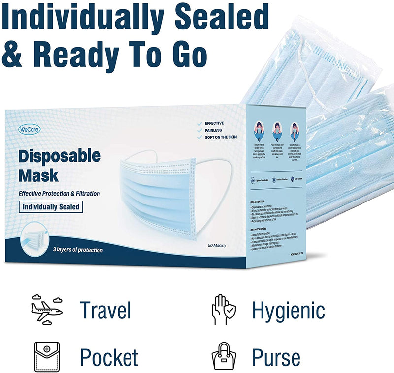Face Masks Soft on Skin - 3 Ply Protectors with Elastic Earloops Disposable 50 Pack - mbrbproducts