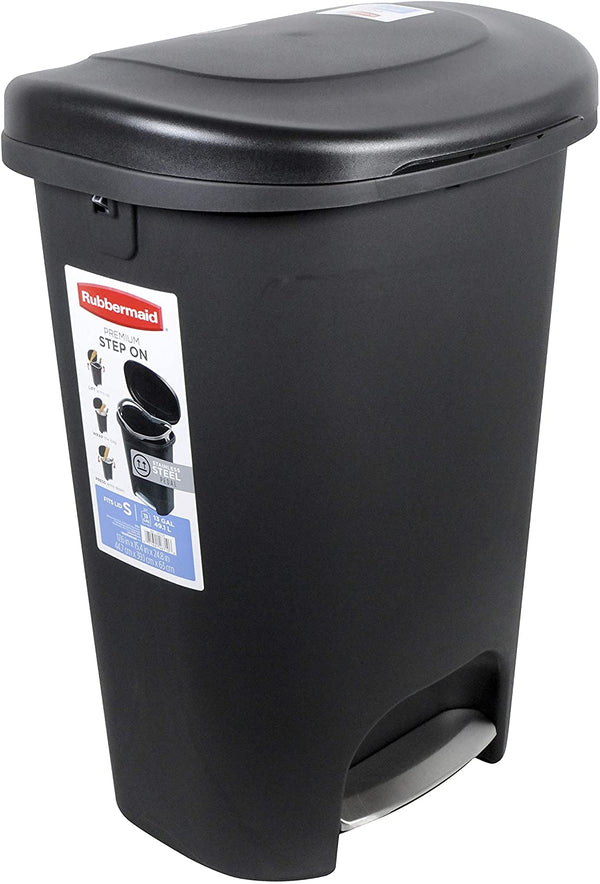 Rubbermaid Step-On Lid Trash Can for Home, Kitchen, and Bathroom Garbage, 13 Gallon, Black - mbrbproducts