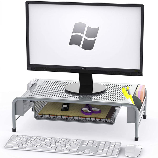 NEW SimpleHouseware Metal Desk Monitor Stand Riser with Organizer Drawer 2020 - mbrbproducts