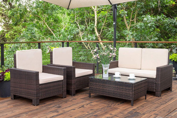Outdoor Patio Furniture Sets Rattan Chair Wicker Conversation Sofa Set, Outdoor Indoor Backyard Porch Garden Poolside Balcony Use Furniture (Beige)4 Pieces - mbrbproducts