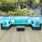 Outdoor Patio Furniture Sectional Pe Rattan Wicker Rattan Sofa Set with Blue Cushions  7pcs - mbrbproducts