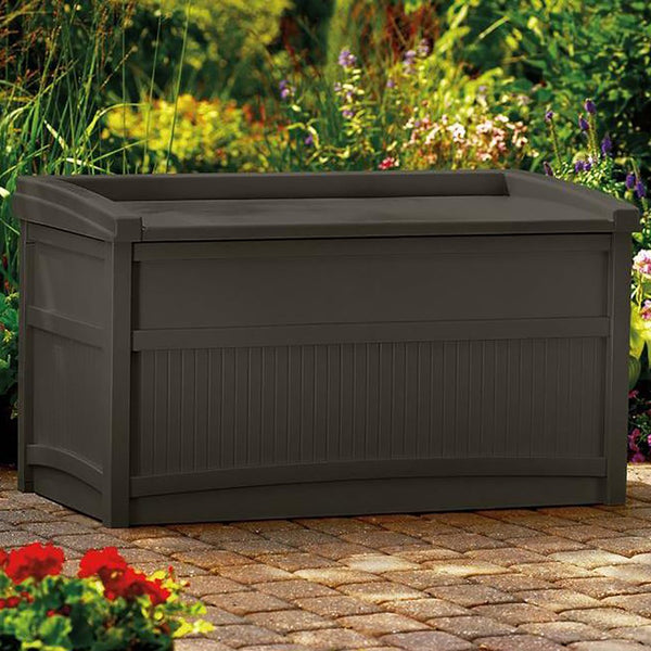 50 Gallon Outdoor Resin Deck Storage Box with Seat, Java Brown - mbrbproducts