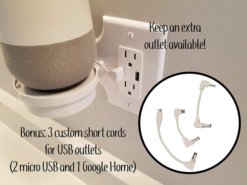 Smart Home Outlet Shelf: Hidden Cord Storage and Extra Custom Short Cords Great for Google Home, Nest, Security Cameras, Smart Speakers, and more - mbrbproducts