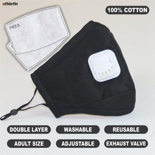 Black Face Mask 1Pc Face Cover Cotton Comfy Fitting 2Pcs PM2.5 Filters - mbrbproducts