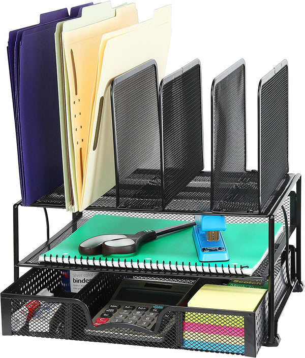NEW Desk Organizer with Sliding Drawer, Double Tray and 5 Upright Sections, Black 2020 - mbrbproducts