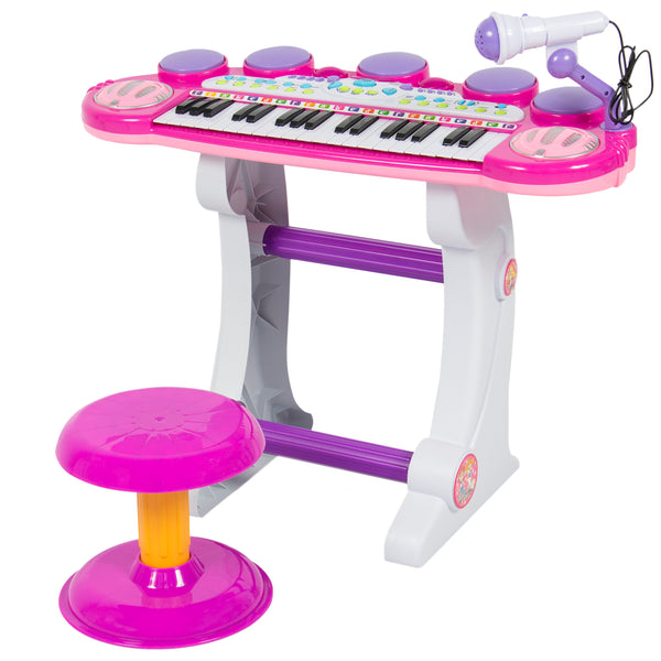 37-Key Kids Electronic Piano Keyboard and ,Synthesizer Stool Pink - mbrbproducts