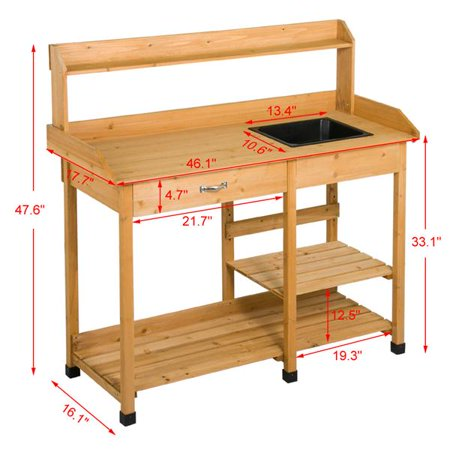 Wooden Potting Bench Garden Table with Drawer & Removable Sink - mbrbproducts