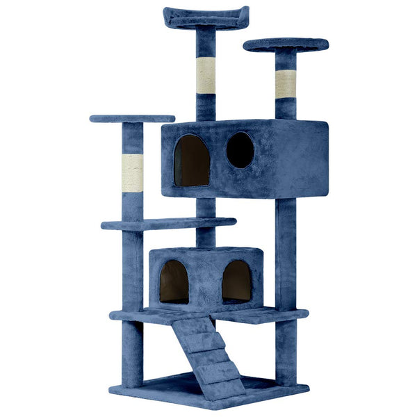 Cat Tree Tower Condo Furniture Scratch Post Kitty Pet House Navy Blue - mbrbproducts