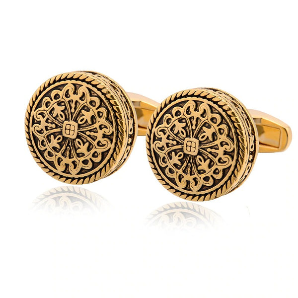 Gold Silver-color Greek Royal Pattern Cufflinks Banquet Suit Shirt French Cuff Links 2020 - mbrbproducts