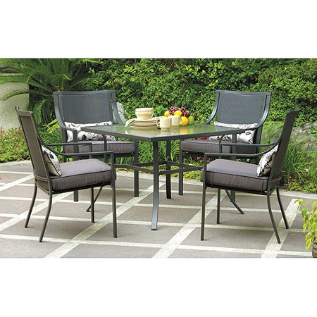 Alexandra Square 5-Piece Outdoor Patio Dining Set, Grey with Leaves - mbrbproducts