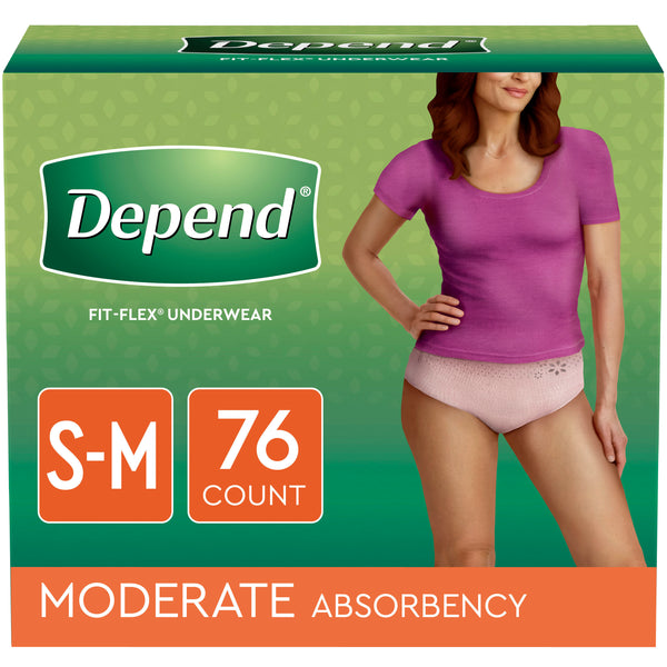 FIT-FLEX Incontinence Underwear for Women, Moderate Absorbency, S/M, Blush, 76 Ct - mbrbproducts