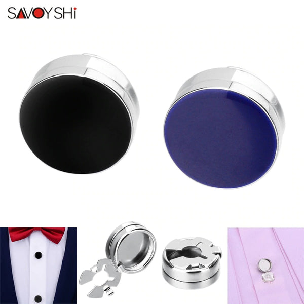 Blue Black Cufflinks for Men's Shirt ordinary Button Accessories Elegance Round Enamel Cuff links 2020 - mbrbproducts