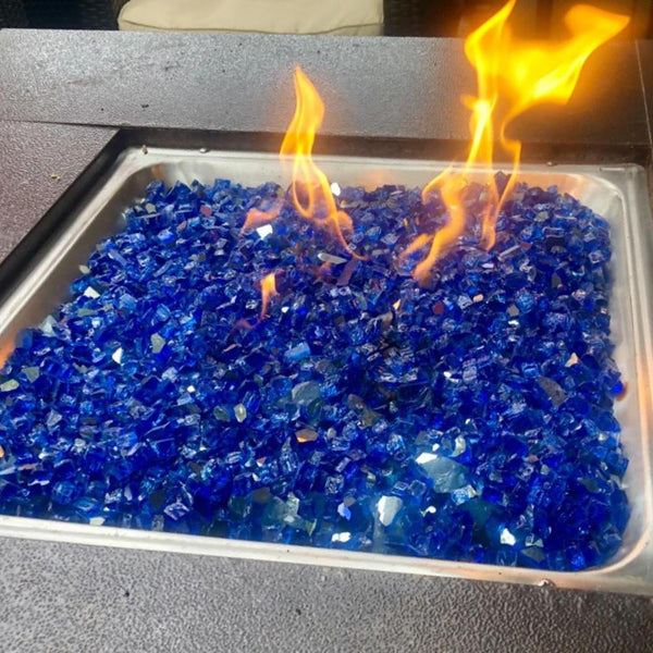 1 Bag Of Decorative Glass Home Blue Mirror Glass Fireproof Glass Fire Pit - mbrbproducts