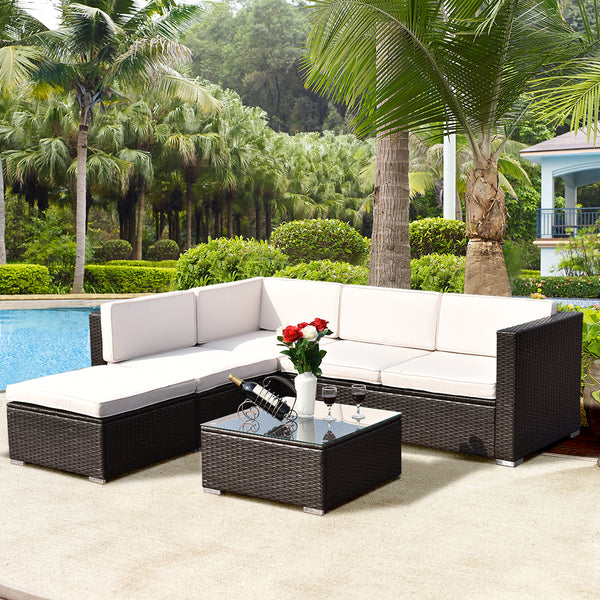 Outdoor Patio Rattan Wicker Furniture Set Loveseat Cushioned Yard Garden 4-piece - mbrbproducts