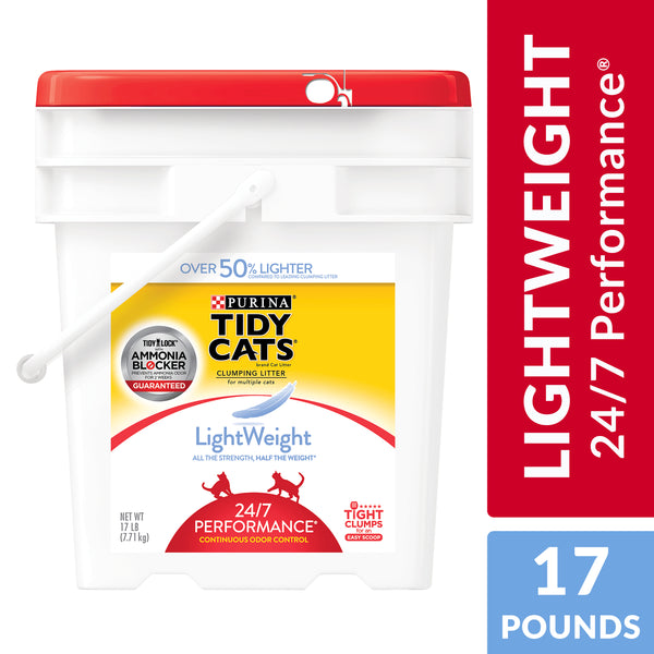 Purina Tidy Cats Light Weight     24/7 Performance Multi Cat Litter, 17 lb. Pail - mbrbproducts
