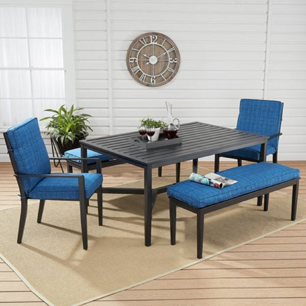 Rockview Outdoor Patio Dining Set, 5 Piece, Blue - mbrbproducts