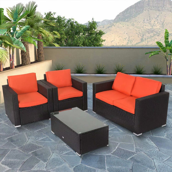 Outdoor Patio Furniture Pe Rattan Wicker Rattan Sofa Sectional Set with Orange Cushions 4pcs - mbrbproducts