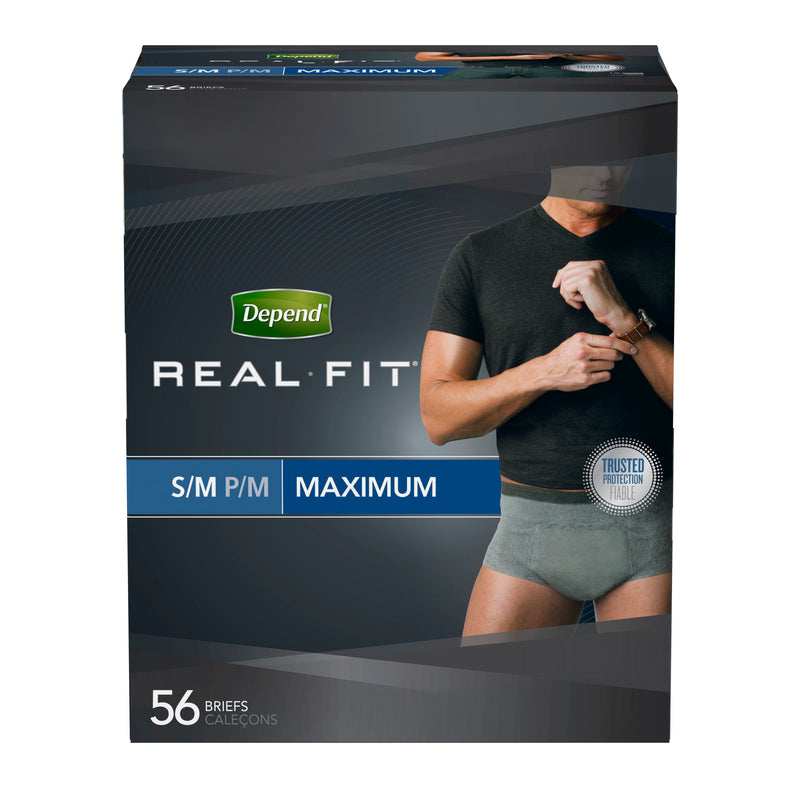Real Fit Incontinence Briefs for Men, Maximum Absorbency, S/M, 56 Ct - mbrbproducts
