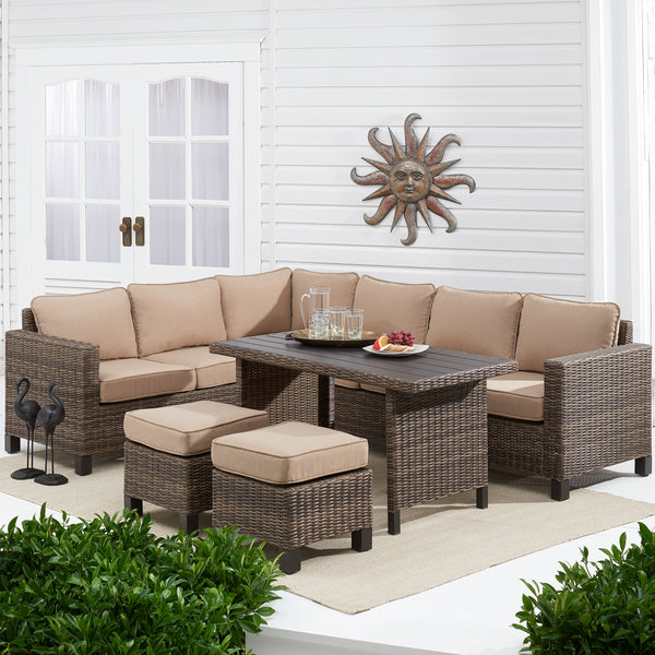 Brookbury 5-Piece Patio Wicker Sectional Set with Tan Cushions - mbrbproducts
