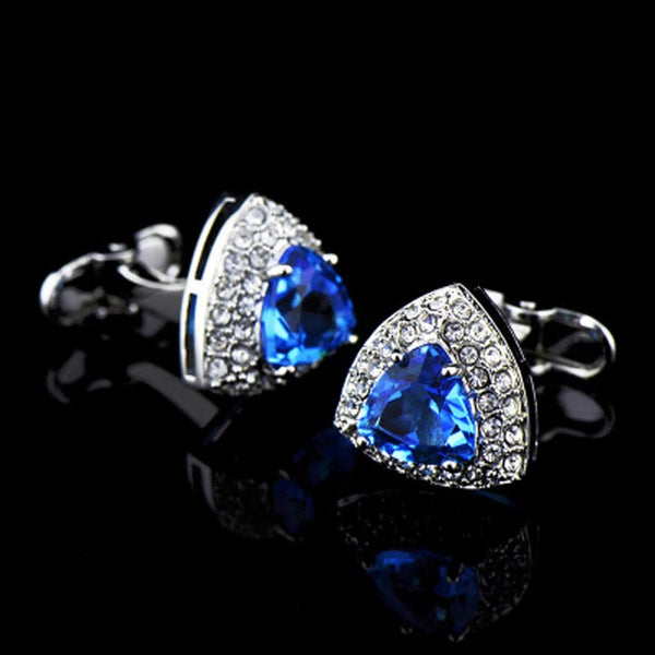 New Luxury Sea Blue Zircon Crystal Cufflinks Fashion Men's Casual Dating Business Banquet Wedding 2020 - mbrbproducts