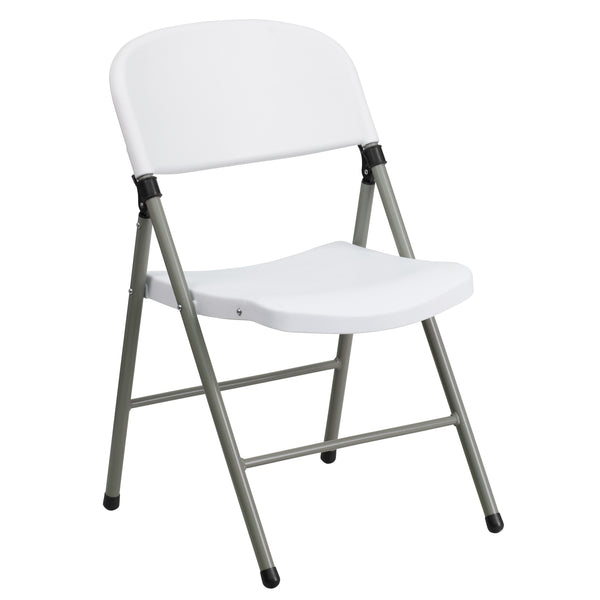 Flash Furniture HERCULES Series 330 lb. Capacity White Plastic Folding Chair with Gray Frame - mbrbproducts