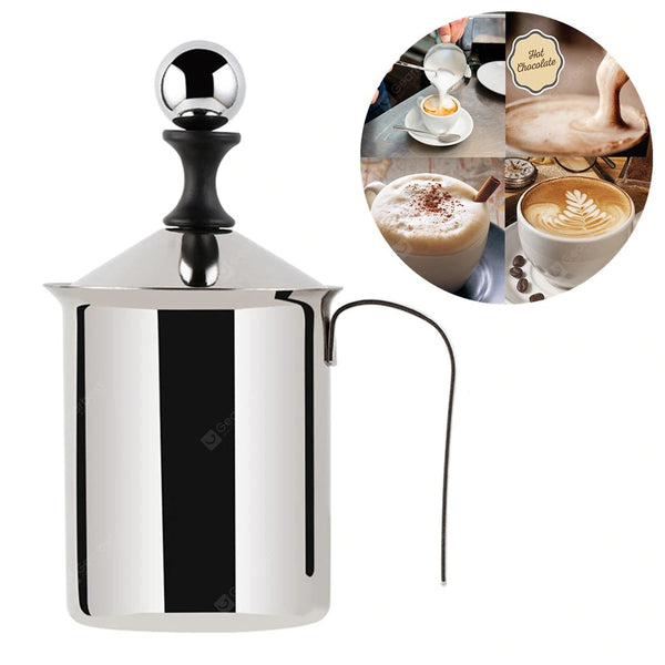 Milk Frother 400/800ML Stainless Steel Double Mesh Coffee Silver L - mbrbproducts