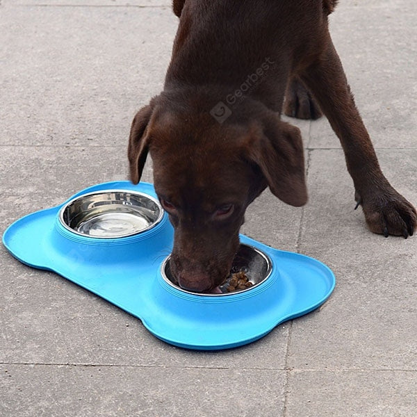Pet Bowl Pet Double Bowl Pet Dog Bowl Food Bowl Silicone Dog Food .Blue 46*27*15cm - mbrbproducts