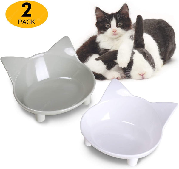 Cat Food Bowls Cat Double Dish Pet Food Water Bowls Raised Puppy Food Bowl - mbrbproducts