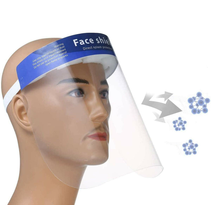 10Pcs Anti-fog Transparent Plastic Full Face Shield Protective Face Mask Anti-Spitting Splash Facial Cover - mbrbproducts