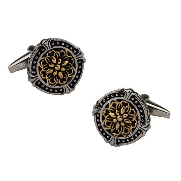 Classical Pattern Round Black Cufflinks Two-color Plating Retro High-end Men's Jewelry Gifts French Cuff Links - mbrbproducts