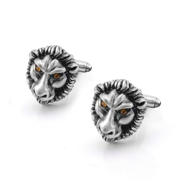 Animal Series Cufflinks Retro Avoid Evil Ancient Silver-color Domineering Lion Lucky Crystal 2020 - mbrbproducts