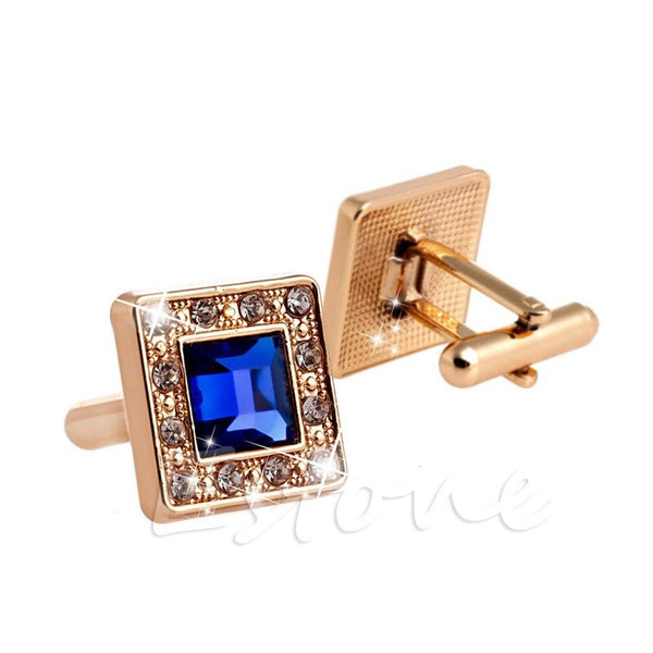 Gold +Blue Crystal Square Men's Cufflinks Cuff Links Men's Wedding Cufflinks 2020 - mbrbproducts