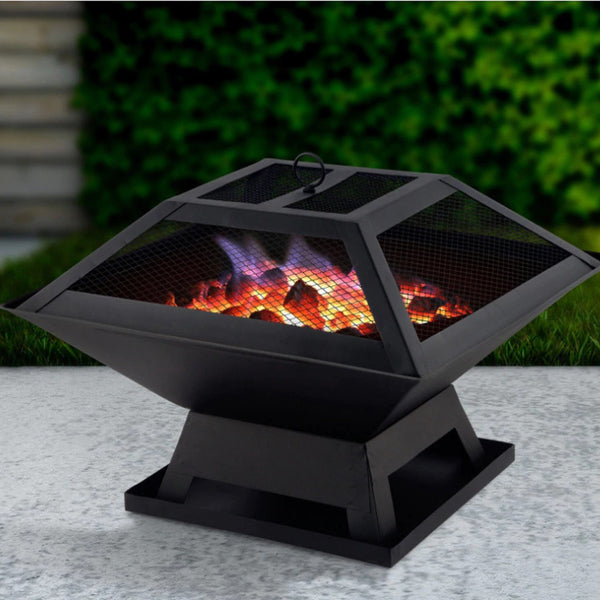 Portable Stainless Steel Outdoor Fire Pit Grill Heater Brazier Garden Table Patio - mbrbproducts