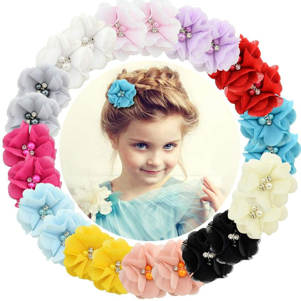 1 Pcs Baby hair solid Chiffon Flower clips Newborn baby Mini Hair Clips Hair Accessories Kids Hair Barrettes girls - mbrbproducts