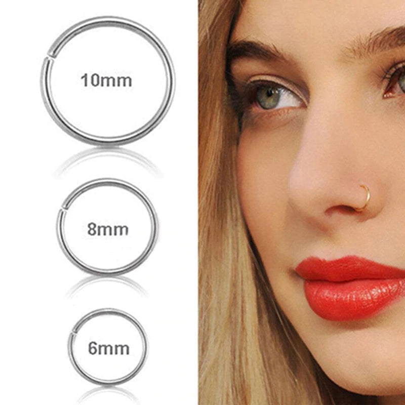 1 Pcs New Arrival Surgical Steel 0.8mm Cartilage Piercing Stud Thin Small Nose Ring Hoop Fashion Jewelry 2020 - mbrbproducts