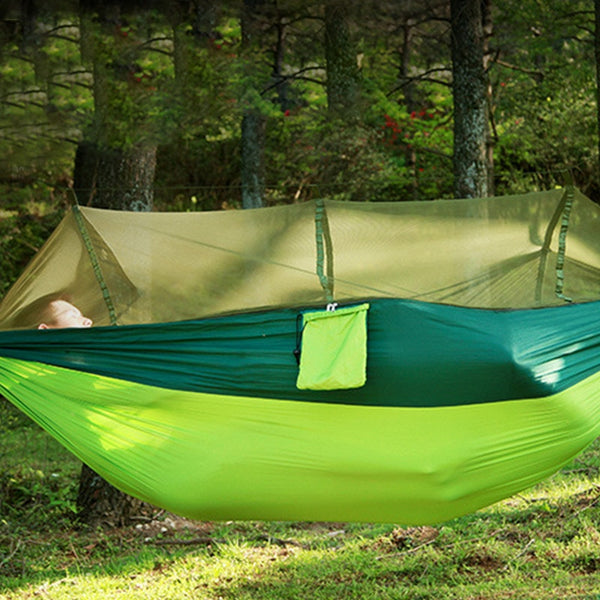 2Person Portable Outdoor Camping Hammock with Mosquito Net High Strength Parachute Fabric Hanging Bed Hunting Sleeping Swing - mbrbproducts