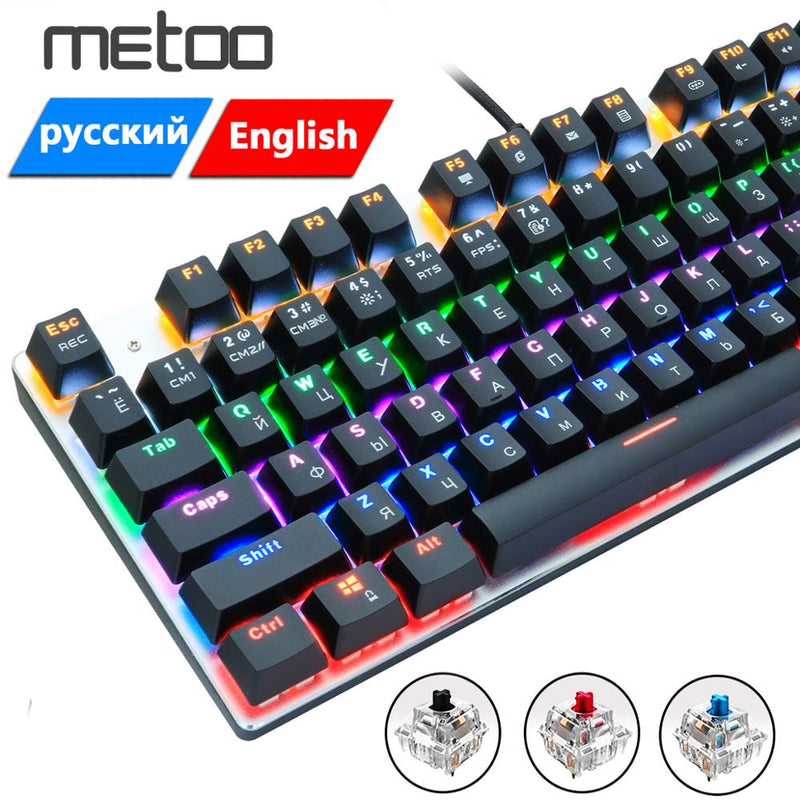 Gaming Keyboard Zero Gaming Keyboard Russian//English//Arabic Mechanical Keyboard 104 Keys USB Wired Keyboard Blue//red Switch Keyboard Axis Body : Korean, Color : 104white BlackSwitch