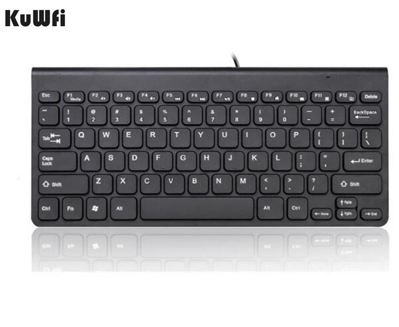 KuWFi New Keyboard Ultra thin Quiet Small Size 78 Keys Mini Multimedia USB Keyboard For Laptop PC Macbook - mbrbproducts