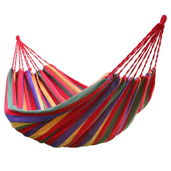 Hot Sale rainbow Outdoor Leisure Portable Hammock canvas canvas canvas Ultralight Camping Hammock with backpack - mbrbproducts
