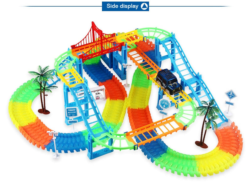 Railway Magical Racing Track Play Set Educational Bend Race Track Electronic Flash Light Car Toys For children - mbrbproducts