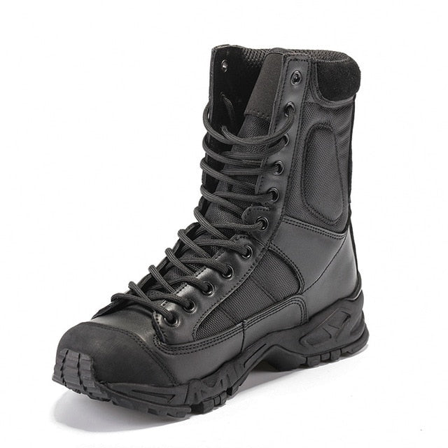 Military Army Boots Men Black Leather Desert Combat Work Shoes Winter Mens Boots - mbrbproducts