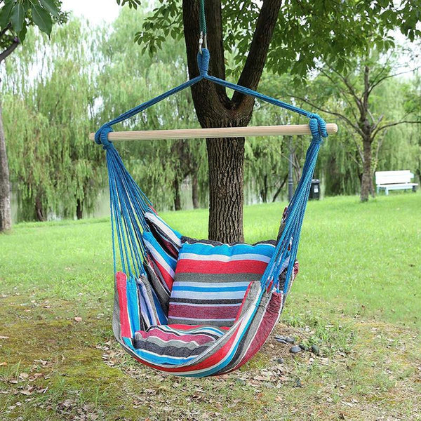 Garden Hang Chair Swinging Indoor Outdoor Furniture Hammock Hanging Rope Chair Swing Chair Seat With 2 Pillows Hammock Camping - mbrbproducts