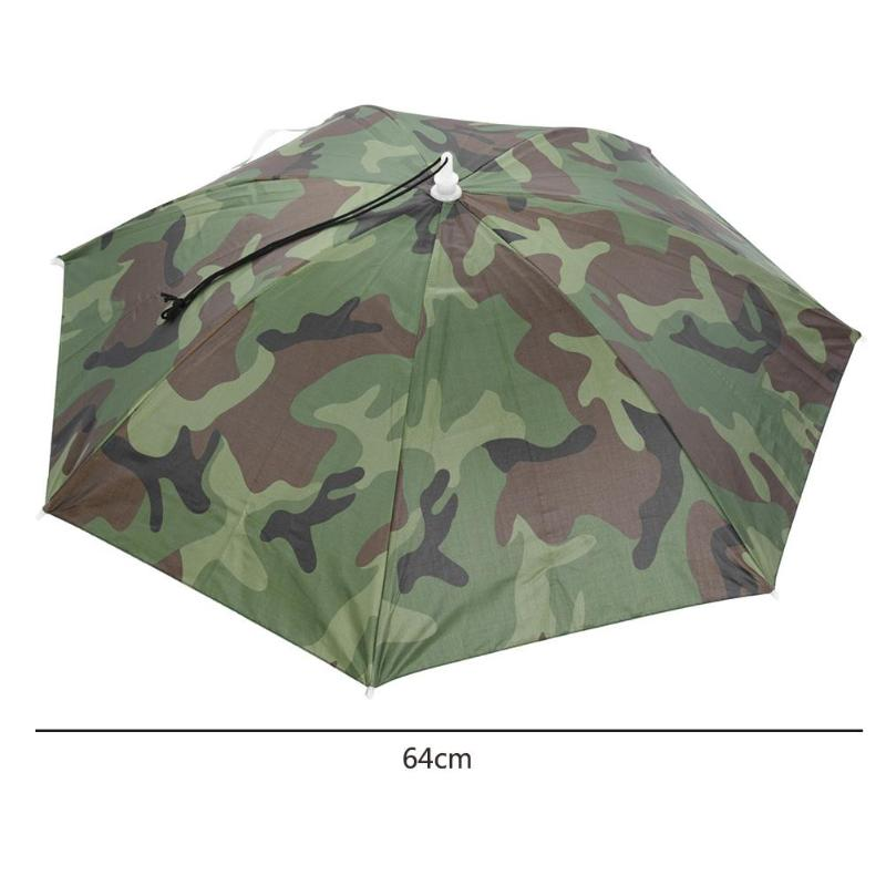 Portable Rain Umbrella Hat Army Green Foldable Outdoor Pesca Sun Shade Waterproof Camping Fishing Headwear Cap Beach Head Hats - mbrbproducts