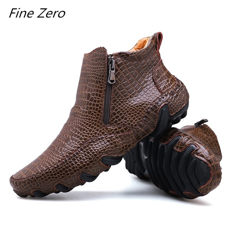 Men Spring/Winter Warm Plush Boots Handmade Leather Outdoor Sneakers Men's Hiking Work Shoes Ankle Boots - mbrbproducts