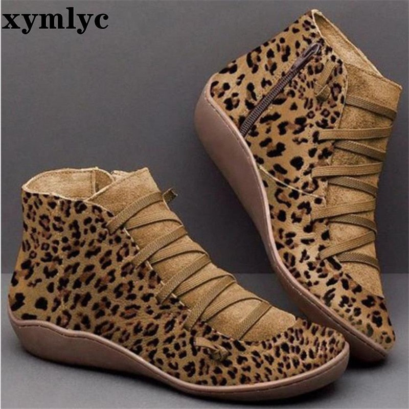 Women Leather Shoes Winter Cross Strap Vintage Plush Punk Warm Short Boots Flat Ladies Shoes Woman - mbrbproducts