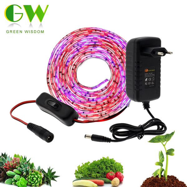 5M LED Grow Light Strip Full Spectrum UV Lamps for Plants Waterproof Phyto Tape with Adapter and Switch for Greenhouse Grow Tent - mbrbproducts