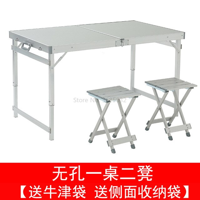 Folding outdoor table and chair set aluminum camping table Stable Height adjustable with four stools bearing 150kg - mbrbproducts