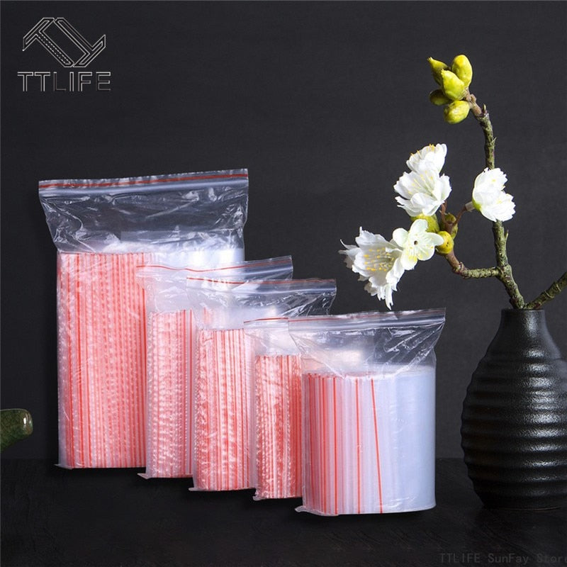 100 Pcs Plastic Bags Ziplock Food Packaging Jewelry - mbrbproducts