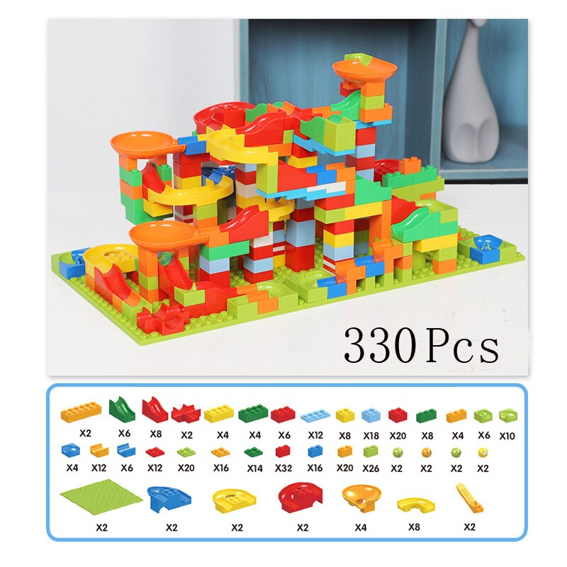 88/330 Pcs Race Run Block Building Blocks Funnel Slide Blocks Model Assemble Series DIY Educational Bricks Toys for Children Boy - mbrbproducts